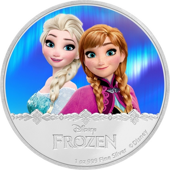 2016 Niue Silver Disney Frozen - Magic of Northern Lights: Elsa and Anna 1oz Colorized Proof in OGP