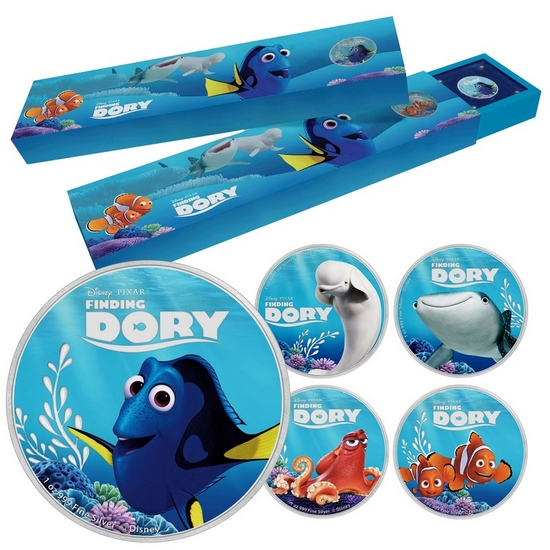 2016 Niue Silver Disney Pixar: Finding Dory 1oz Colorized Proof 5pc Coin Set in OGP