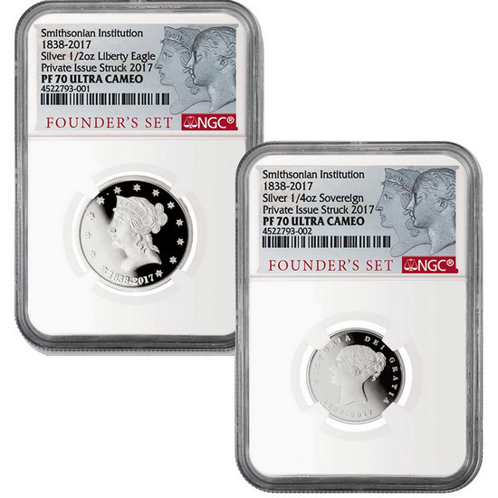 1838-2017 Smithsonian Institute Founder's 2 Piece Proof Silver Set PF70 UC NGC