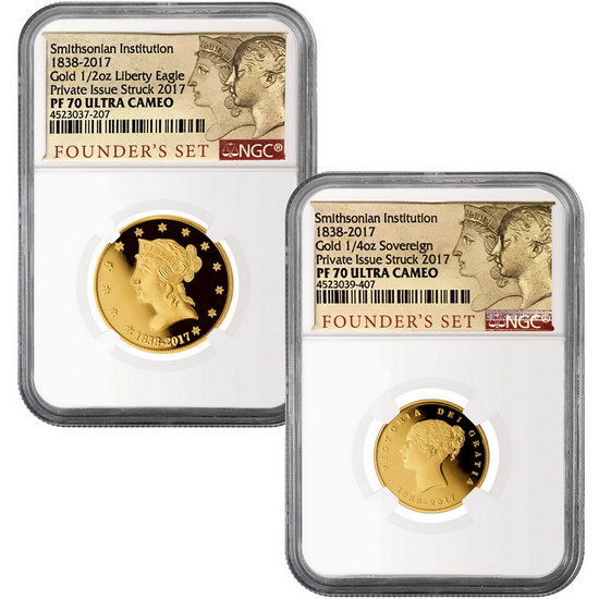 1838-2017 Smithsonian Institute Founder's 2 Piece Proof Gold Set PF70 UC NGC