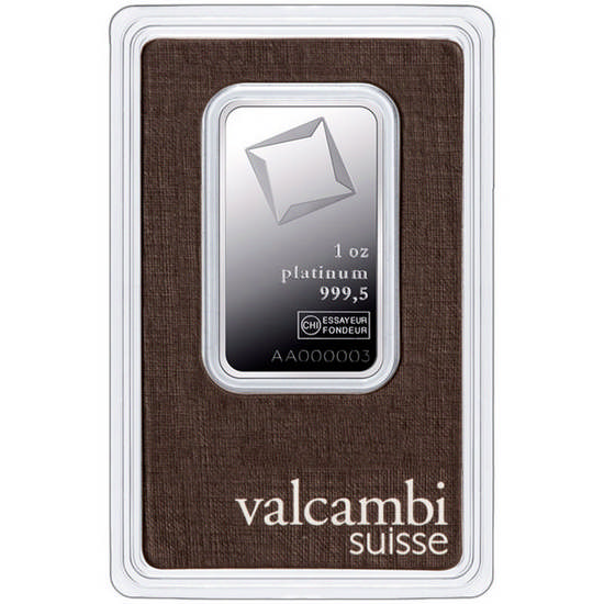 1 Oz Platinum Bar Valcambi Suisse Assay Certified