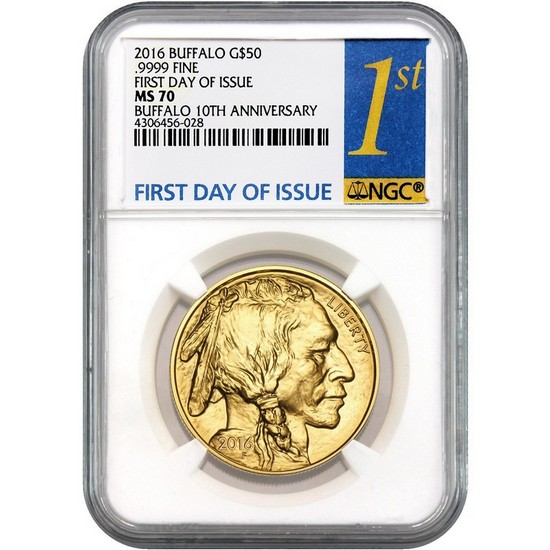 2016 Gold Buffalo 1oz ($50) MS70 NGC First Day Issue Label