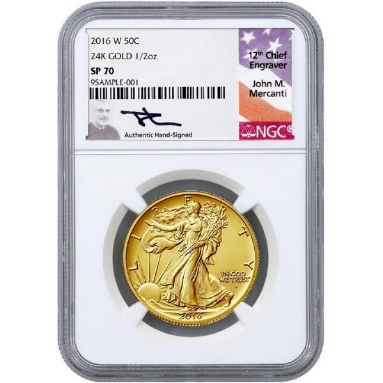 2016 W Gold Walking Liberty Centennial Coin Half Ounce SP70 ER NGC Mercanti Signature Limited Label