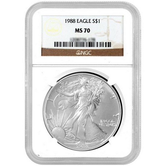 1988 Silver American Eagle MS70 NGC Brown Label