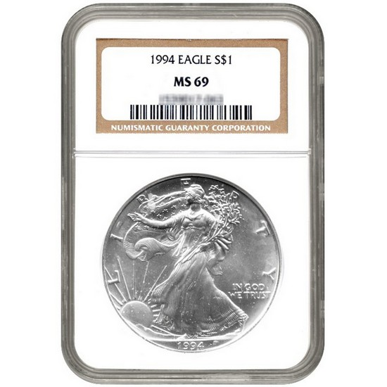 1994 Silver American Eagle MS69 NGC Brown Label