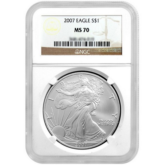 2007 Silver American Eagle MS70 NGC Brown Label