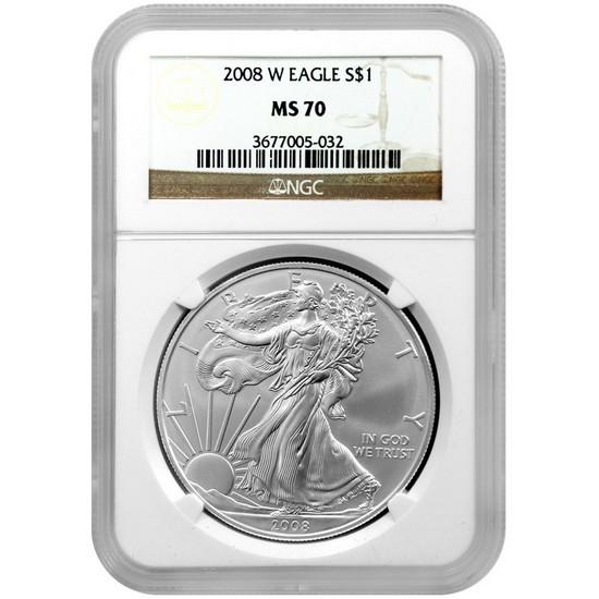 2008 W Silver American Eagle MS70 Burnished NGC Brown Label