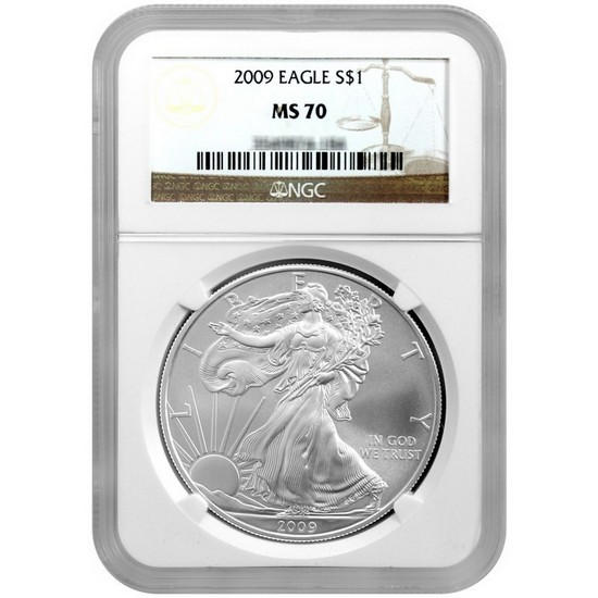 2009 Silver American Eagle MS70 NGC Brown Label