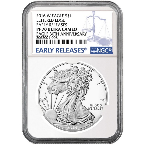 2016 W Silver American Eagle PF70 UC ER NGC Blue Label
