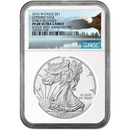 2016 W Silver American Eagle PF69 UC ER NGC Bald Eagle Label