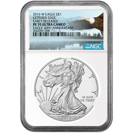 2016 W Silver American Eagle PF70 UC ER NGC Bald Eagle Label