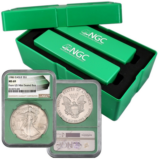 1986-2016 Silver American Eagle MS69 NGC Green Core Monster Box Label 31pc Set