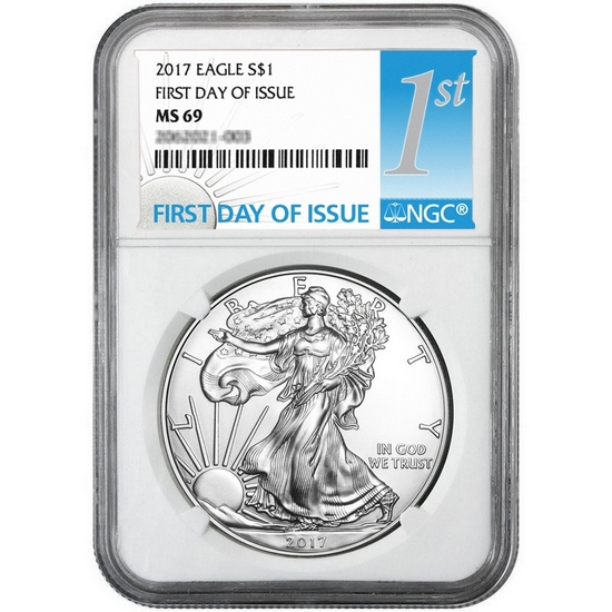 2017 Silver American Eagle MS69 FDI NGC 1st Label