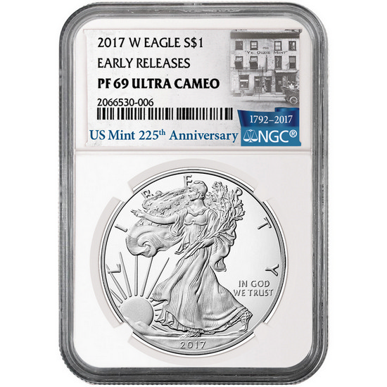 2017 W Silver American Eagle Coin PF69 UC ER NGC 225th Anniversary Label
