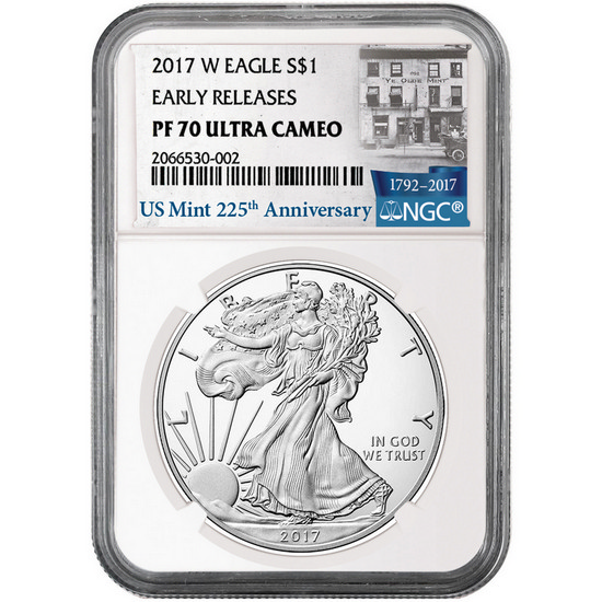 2017 W Silver American Eagle Coin PF70 UC ER NGC 225th Anniversary Label