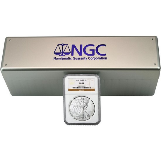 2014 Silver American Eagle MS69 NGC Brown Label 20pc