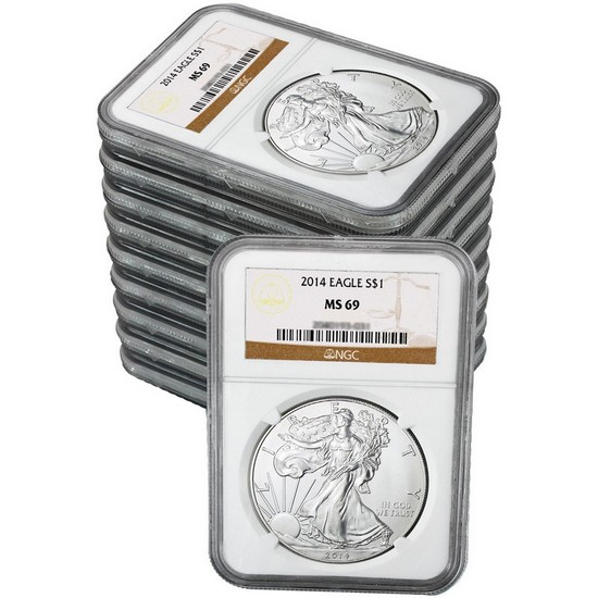 2014 Silver American Eagle MS69 NGC Brown Label 10pc