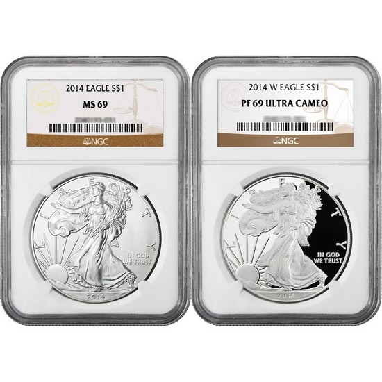 2014 Silver American Eagle MS69 & W PF69 UC NGC Brown Label 2pc Combo