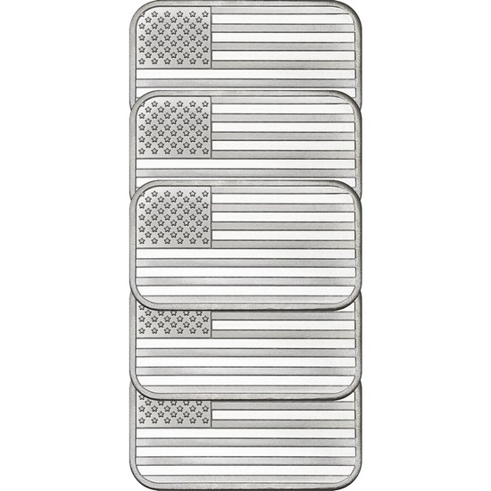 American Flag 1oz .999 Silver Bar 5pc