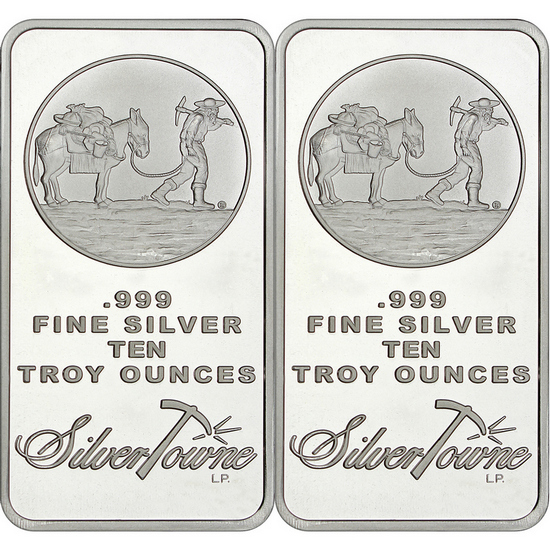 SilverTowne Trademark 10oz .999 Silver Bar 2pc