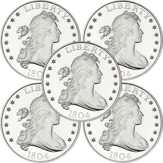 1804 Dollar Replica 1oz .999 Silver Medallion 5pc