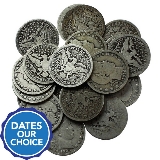 20pc Silver Barber Quarter Grab Bag