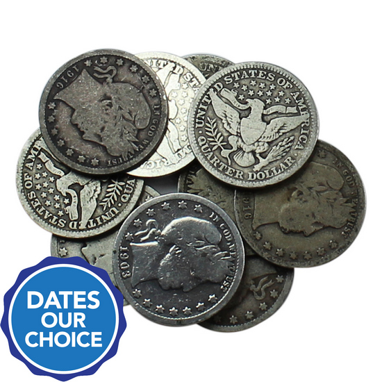 10pc Silver Barber Quarter Grab Bag