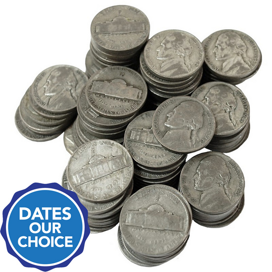 100pc Silver War Nickel Grab Bag