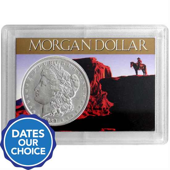 Morgan Silver Dollar Our Choice Date in H.E. Harris Snaptite