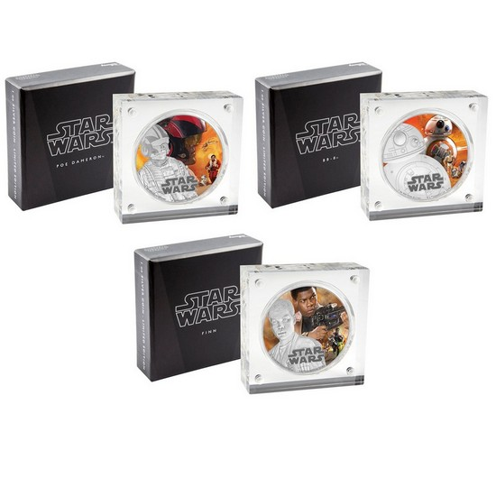 2016 Niue Silver Star Wars™ The Force Awakens 1oz Silver Colorized Proof 3 Coin Set in OGP
