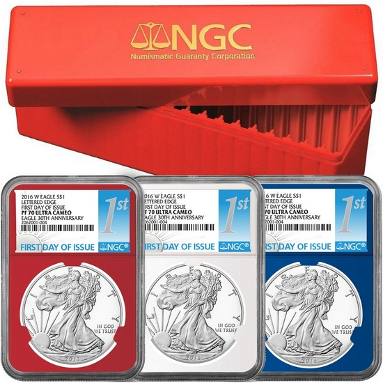 2016 W Silver American Eagle PF70 UC FDI Red, White and Blue Core NGC 1st Labels 3pc with Red NGC Storage Box