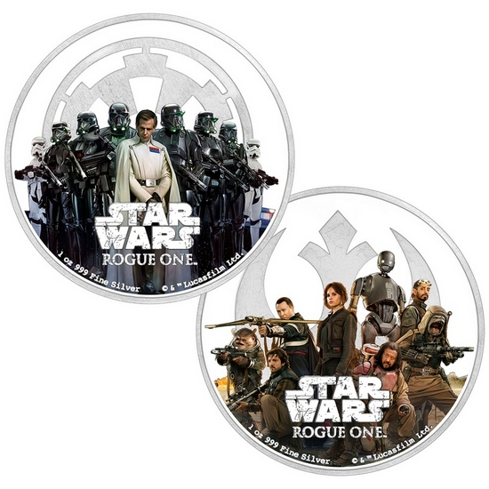 2017 Niue Silver Star Wars™: Rogue One Rebellion & Empire 1oz Silver Colorized Proof 2 Coin Set in OGP