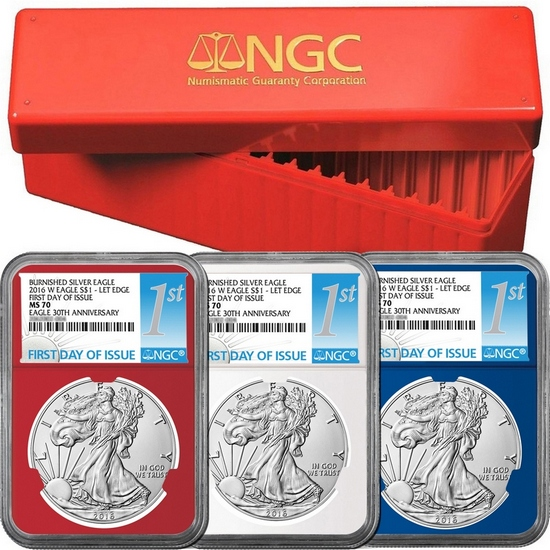2016 W Burnished Silver American Eagle MS70 Red, White and Blue Core NGC First Day Issue Labels 3pc with Red NGC Storage Box