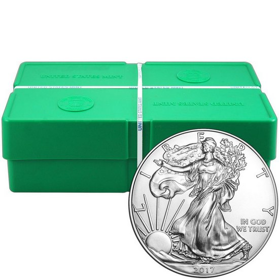 2017 Silver American Eagle BU 500pc Monster Box