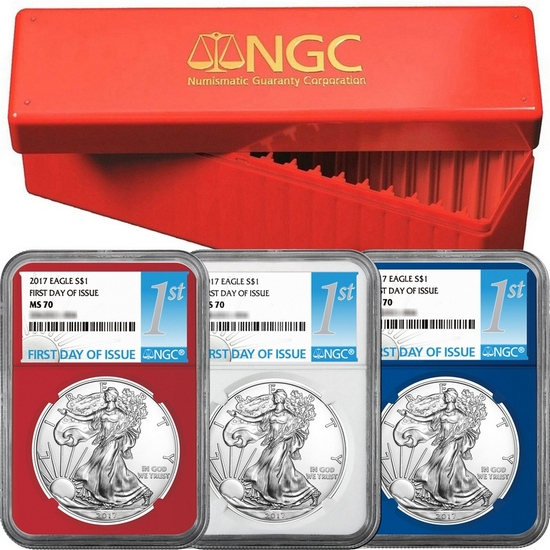 2017 Silver American Eagle MS70 FDI NGC 1st Label Red, White & Blue Core 3pc Set in Red NGC Box
