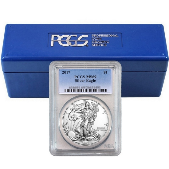 2017 Silver American Eagle MS69 PCGS Standard Blue Label 20pc in PCGS Box