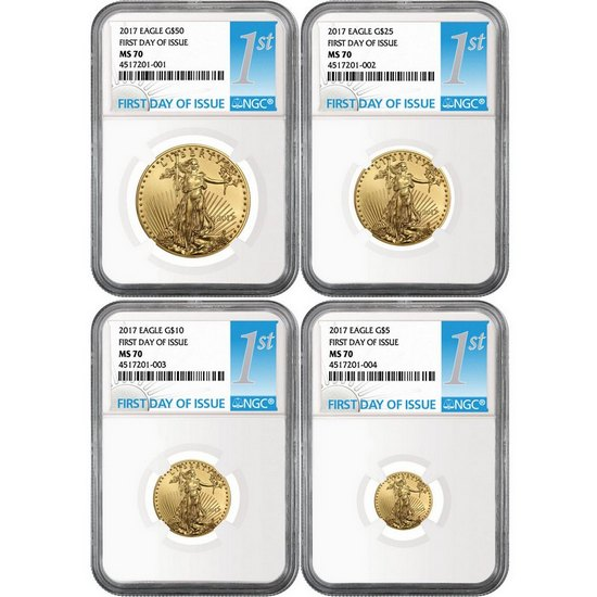 2017 Gold American Eagle 1oz ($50) Half Ounce ($25) Quarter Ounce ($10) and Tenth ($5) Ounce 4pc Set MS70 NGC First Day Issue Label