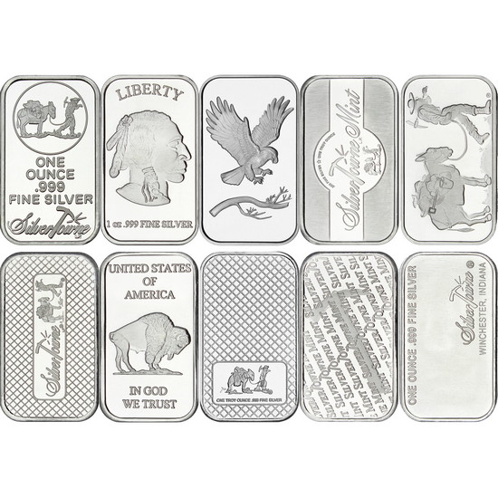 Mixed Designs 1oz .999 Silver Bar 10pc