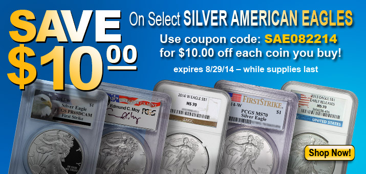 Save $10 On Select Silver American Eagles