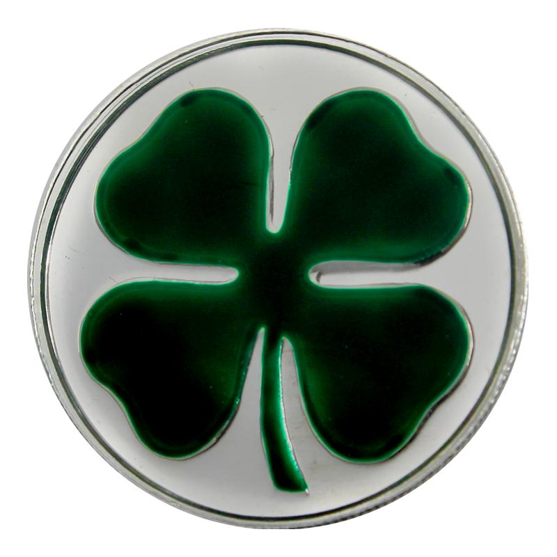 four leaf clover enameled silver medallion