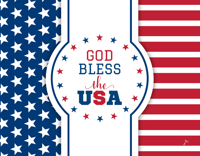 Patriotic God Bless America Gift Box Sleeve for 2 Piece Sets
