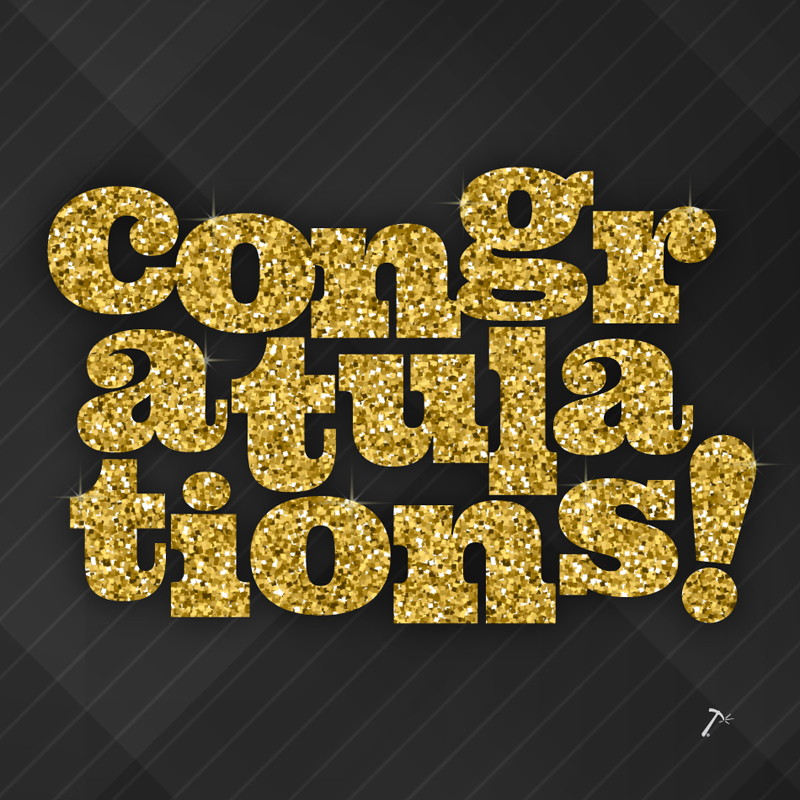 Congratulations Gold Glitter Gift Box Sleeve