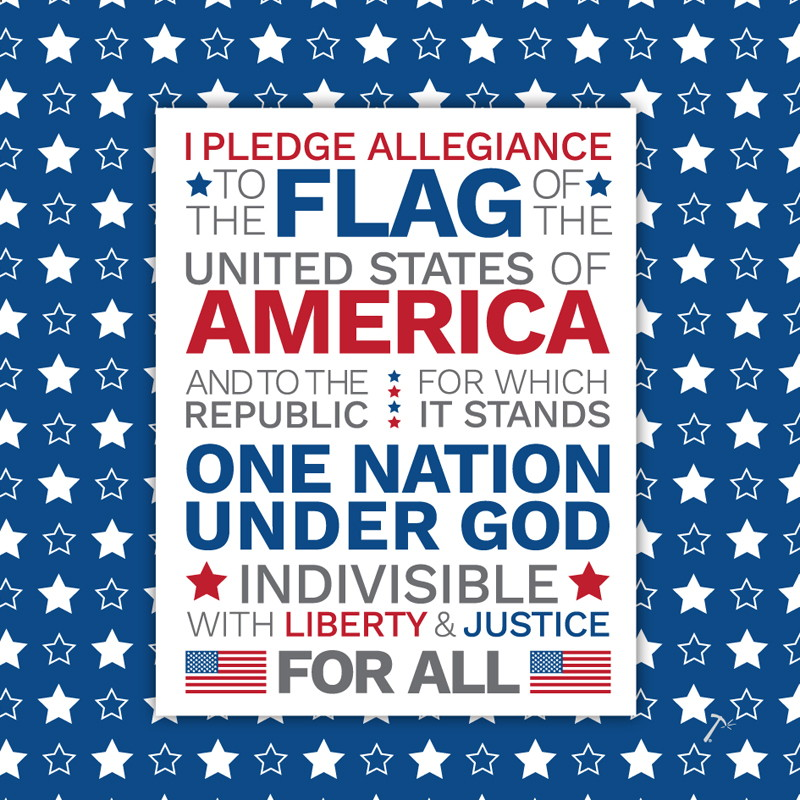 Pledge of Allegiance Blue Gift Box Sleeve
