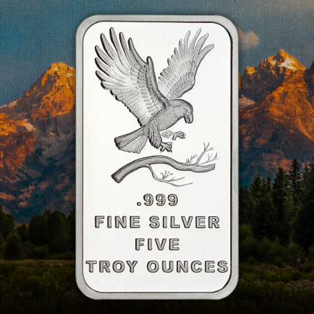 5 Ounce Eagle SilverTowne Trademark Silver Bars
