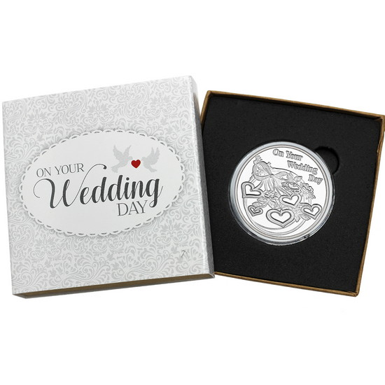 On Your Wedding Day Hearts 1oz .999 Silver Medallion Dated 2018
