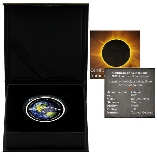2017 Silver American Solar Eclipse 1oz Colorized Curved Proof Coin in OGP