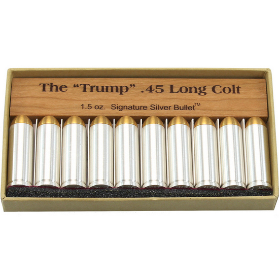 Trump .45 Colt Signature Gold Tipped 1.5 Ounce .999 Silver Bullets 10pc Box