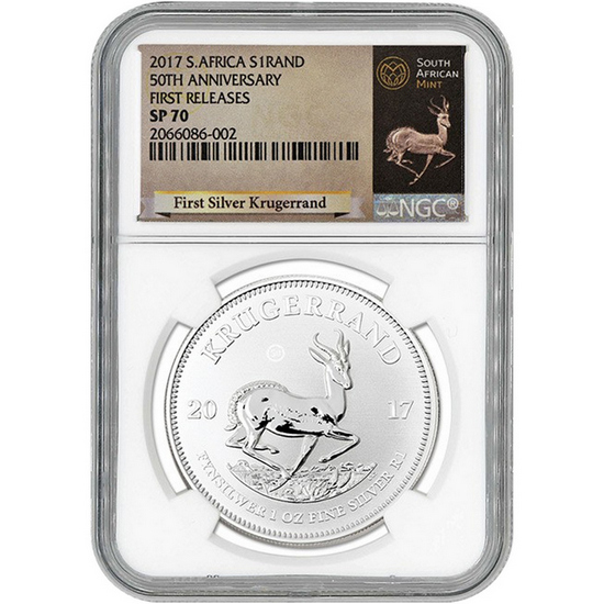 2017 South Africa Silver Krugerrand 50th Anniversary 1oz SP70 First Releases NGC