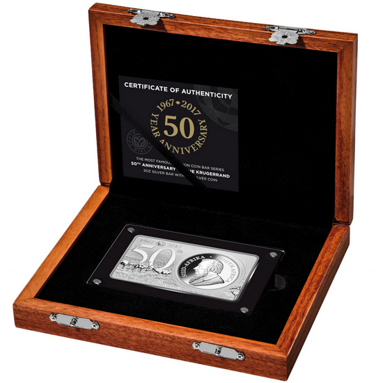 2017 South Africa Silver Krugerrand 50th Anniversary 3oz Silver Coin and Bar Set