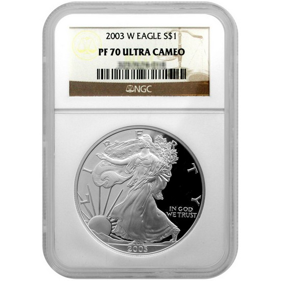 2003 W Silver American Eagle PF70 UC NGC Brown Label